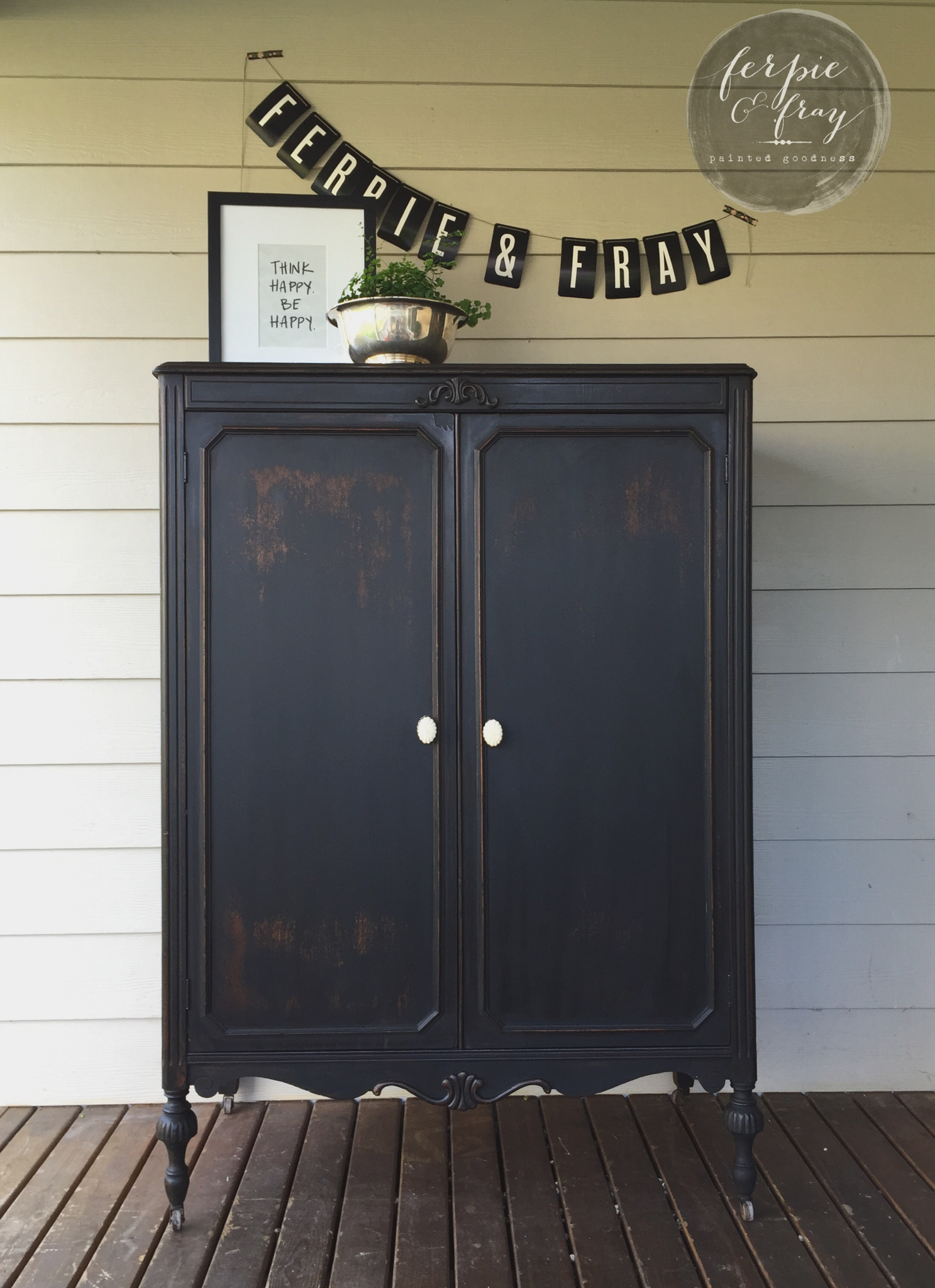 Painting furniture black before and after - Before And After A 2fer The Sweet Little Desk And Black Armoire